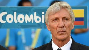 Pékerman, durante un partido de la Selección Colombia.