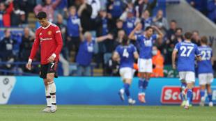 Cristiano Ronaldo se lamenta tras un gol del Leicester