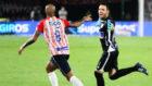 Sebastián Viera celebra su gol en la victoria de Junior 2-1 sobre...