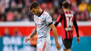 Lucas Hernánadez en el partido contra el Bayer Leverkusen de este fin...