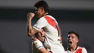 Jorge Carrascal, celebrando con River Plate.