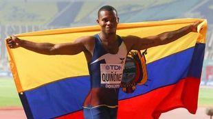 Álex Quiñonez, tras ganar una carrera
