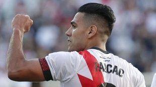 Falcao celebra un gol con el Rayo