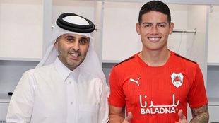 James, el día de su presentación como jugador del Al Rayyan